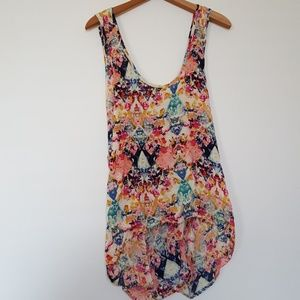 Vibrant patterned open back high low tank